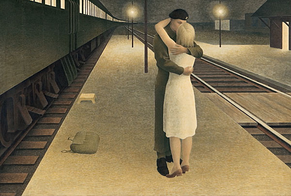 Soldier and Girl at Station — painting by Alex Colville
