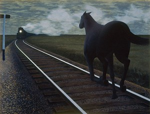 Horse and Train — painting by Alex Colville