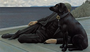 Dog and Priest — painting by Alex Colville