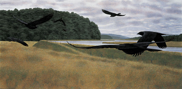 Seven Crows — painting by Alex Colville