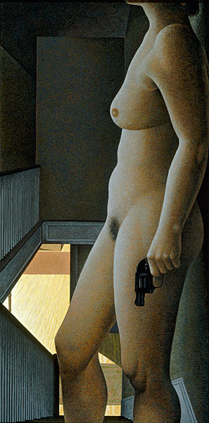 Woman with Revolver — painting by Alex Colville