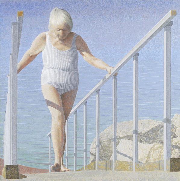 Woman on Ramp — painting by Alex Colville