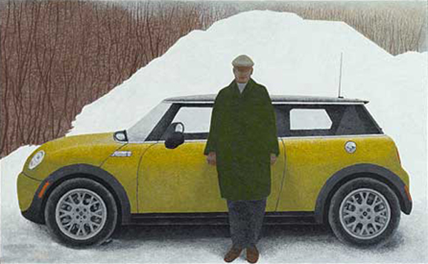 Artist and Car — painting by Alex Colville